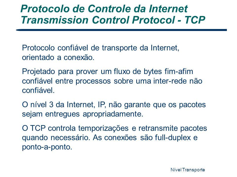 Nível Transporte 51 Protocolo de Controle da Internet Transmission Control Protocol - TCP Protocolo confiável de transporte da Internet, orientado a c