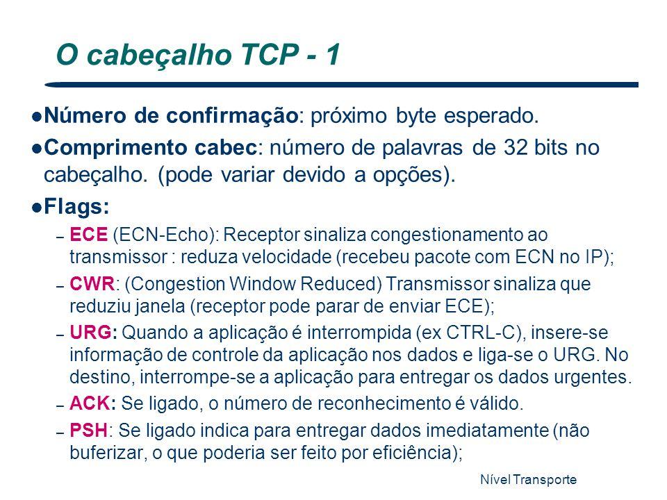 Nível Transporte 53 O cabeçalho TCP - 1 Número de confirmação: próximo byte esperado. Comprimento cabec: número de palavras de 32 bits no cabeçalho. (