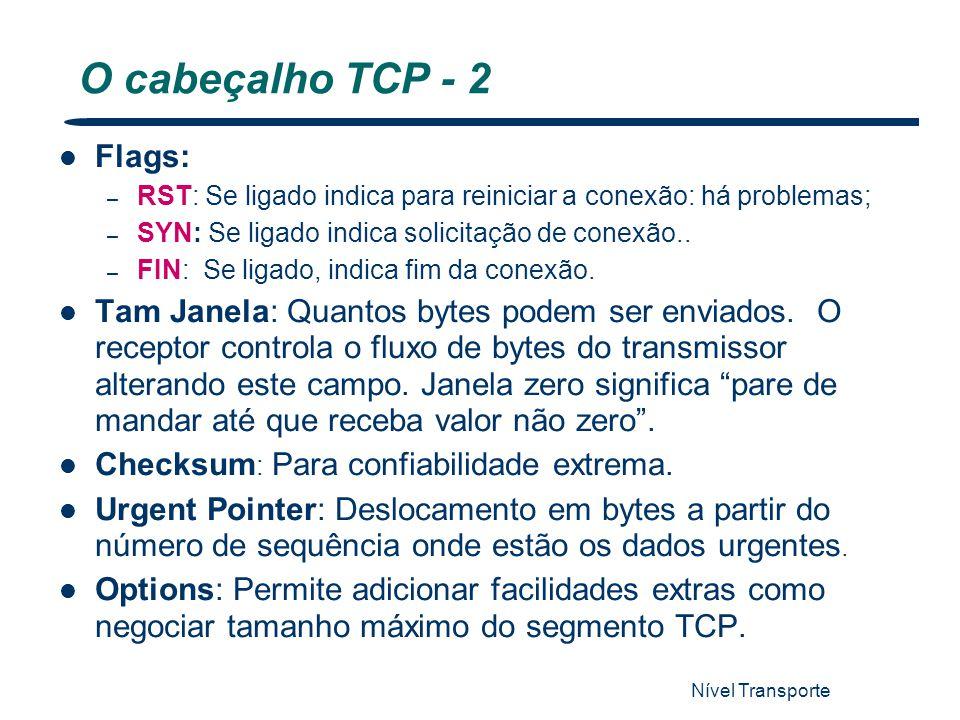 Nível Transporte 54 O cabeçalho TCP - 2 Flags: – RST: Se ligado indica para reiniciar a conexão: há problemas; – SYN: Se ligado indica solicitação de