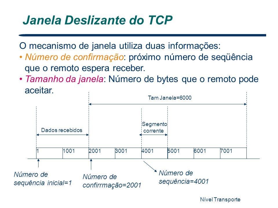 Nível Transporte Janela Deslizante do TCP O mecanismo de janela utiliza duas informações: Número de confirmação: próximo número de seqüência que o rem