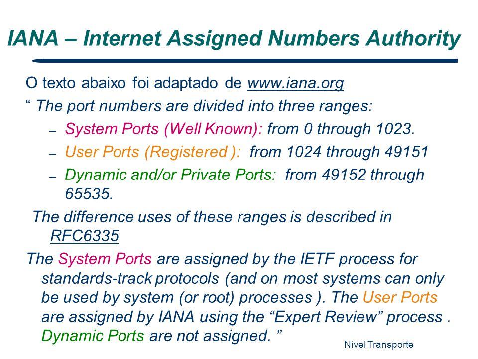 """Nível Transporte 6 IANA – Internet Assigned Numbers Authority O texto abaixo foi adaptado de www.iana.orgwww.iana.org """" The port numbers are divided i"""