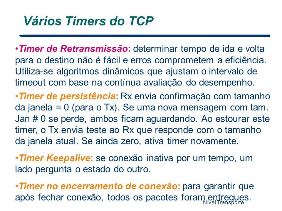 Nível Transporte 60 Vários Timers do TCP Timer de Retransmissão: determinar tempo de ida e volta para o destino não é fácil e erros comprometem a efic