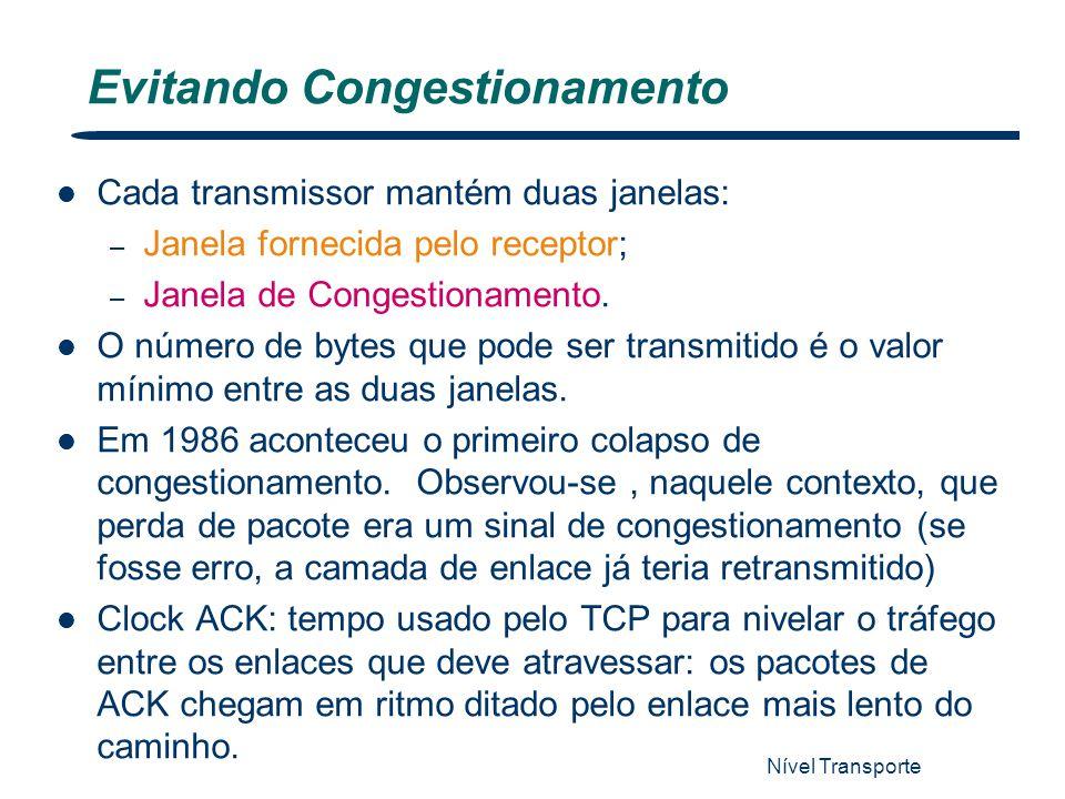 Nível Transporte 66 Evitando Congestionamento Cada transmissor mantém duas janelas: – Janela fornecida pelo receptor; – Janela de Congestionamento. O