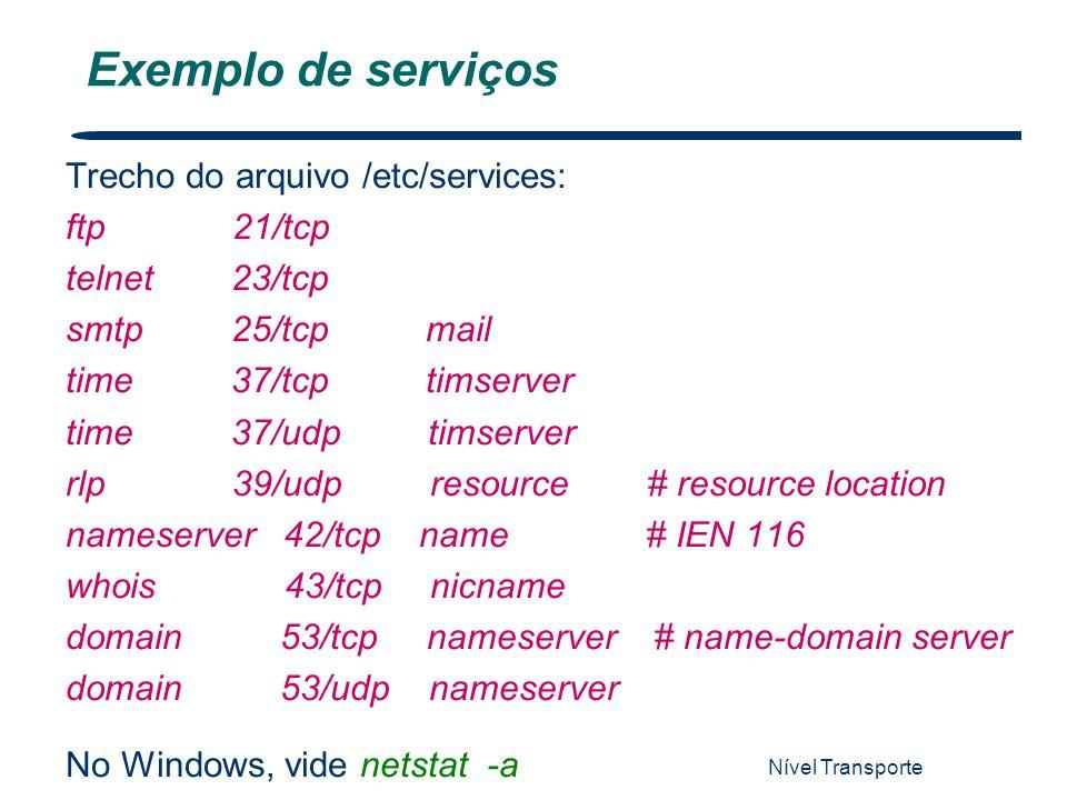 Nível Transporte 7 Exemplo de serviços Trecho do arquivo /etc/services: ftp 21/tcp telnet 23/tcp smtp 25/tcp mail time 37/tcp timserver time 37/udp ti