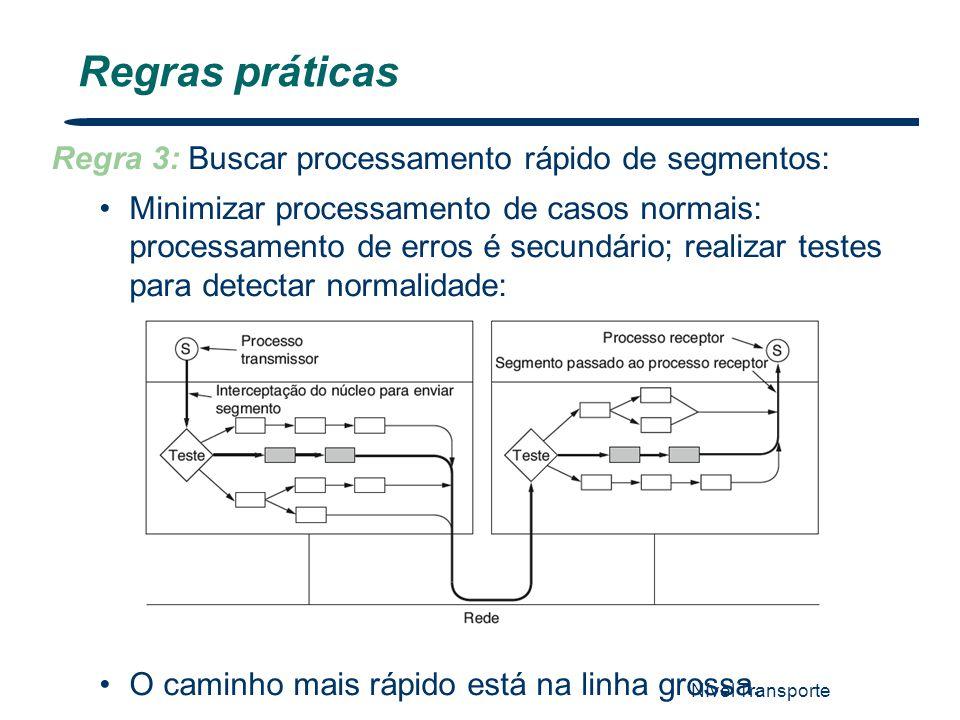 Nível Transporte 74 Regras práticas Regra 3: Buscar processamento rápido de segmentos: Minimizar processamento de casos normais: processamento de erro