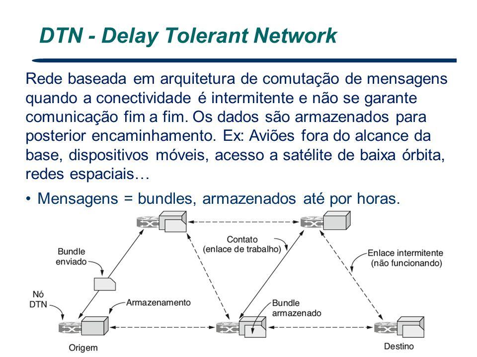 Nível Transporte 75 DTN - Delay Tolerant Network Rede baseada em arquitetura de comutação de mensagens quando a conectividade é intermitente e não se