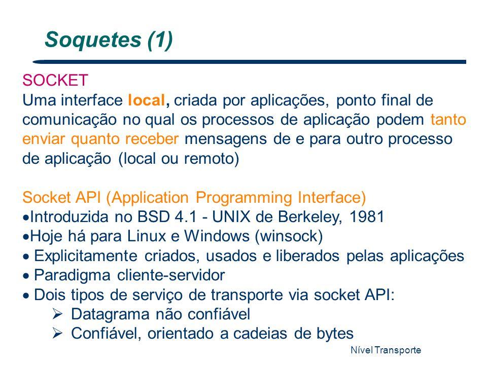 Nível Transporte 8 Soquetes (1) SOCKET Uma interface local, criada por aplicações, ponto final de comunicação no qual os processos de aplicação podem