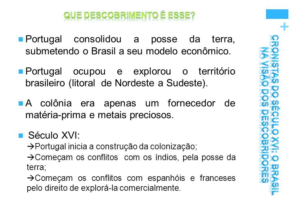 + Portugal consolidou a posse da terra, submetendo o Brasil a seu modelo econômico. Portugal ocupou e explorou o território brasileiro (litoral de Nor