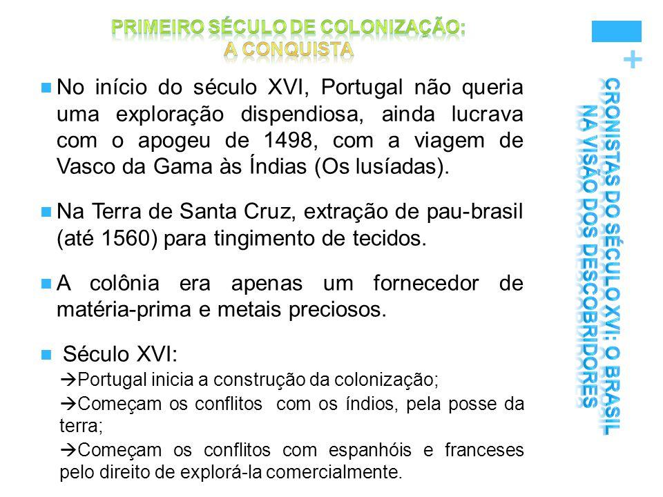 + No início do século XVI, Portugal não queria uma exploração dispendiosa, ainda lucrava com o apogeu de 1498, com a viagem de Vasco da Gama às Índias