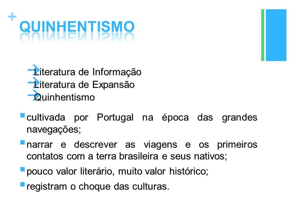 +  Literatura de Informação  Literatura de Expansão  Quinhentismo  cultivada por Portugal na época das grandes navegações;  narrar e descrever as