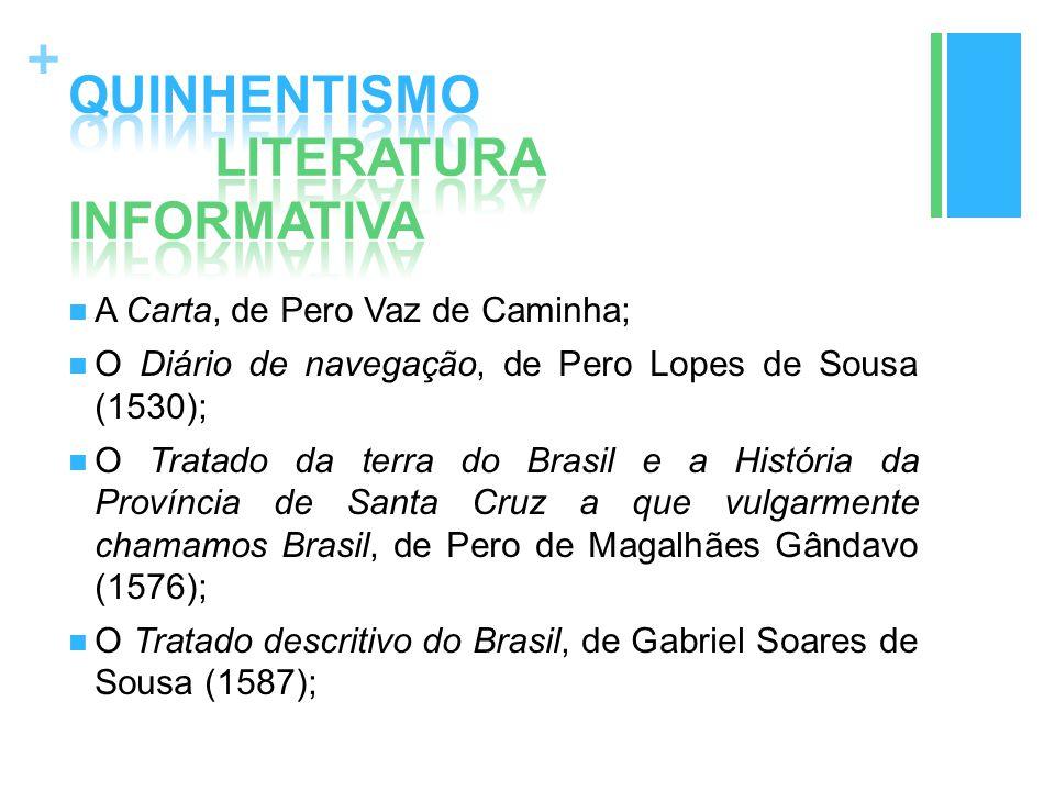 + A Carta, de Pero Vaz de Caminha; O Diário de navegação, de Pero Lopes de Sousa (1530); O Tratado da terra do Brasil e a História da Província de San