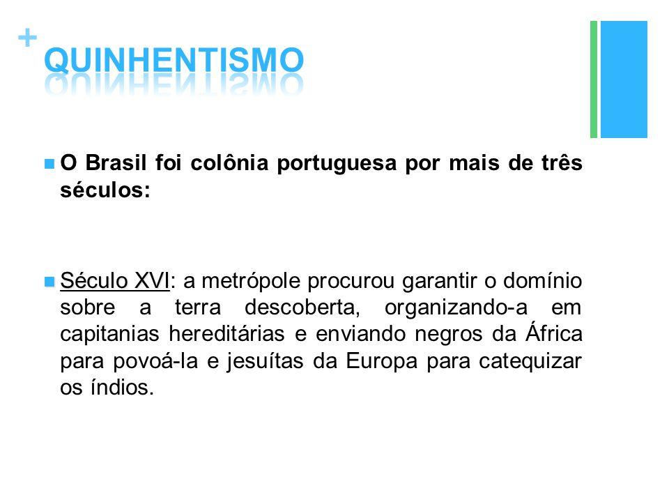 + O Brasil foi colônia portuguesa por mais de três séculos: Século XVI Século XVI: a metrópole procurou garantir o domínio sobre a terra descoberta, o