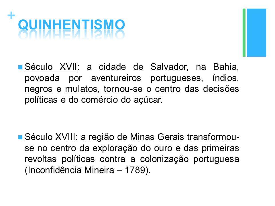 + Século XVII Século XVII: a cidade de Salvador, na Bahia, povoada por aventureiros portugueses, índios, negros e mulatos, tornou-se o centro das deci