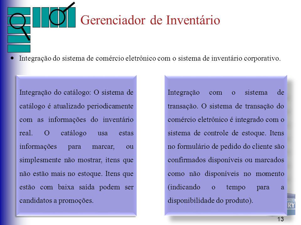 Gerenciador de Inventário Integração do sistema de comércio eletrônico com o sistema de inventário corporativo. 13 Integração do catálogo: O sistema d