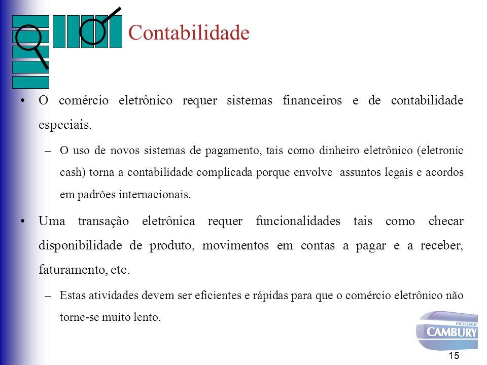 Contabilidade O comércio eletrônico requer sistemas financeiros e de contabilidade especiais. –O uso de novos sistemas de pagamento, tais como dinheir