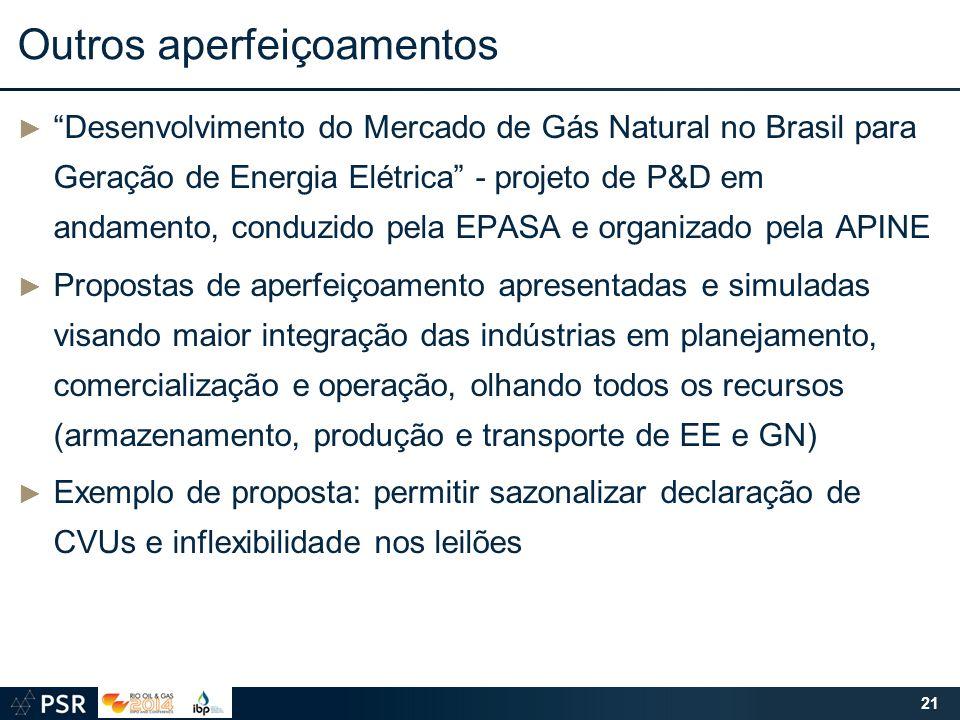 """Outros aperfeiçoamentos ► """"Desenvolvimento do Mercado de Gás Natural no Brasil para Geração de Energia Elétrica"""" - projeto de P&D em andamento, conduz"""