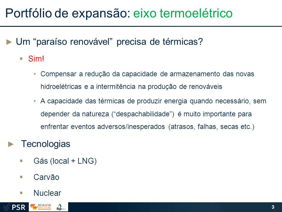 """Portfólio de expansão: eixo termoelétrico ► Um """"paraíso renovável"""" precisa de térmicas?  Sim! Compensar a redução da capacidade de armazenamento das"""