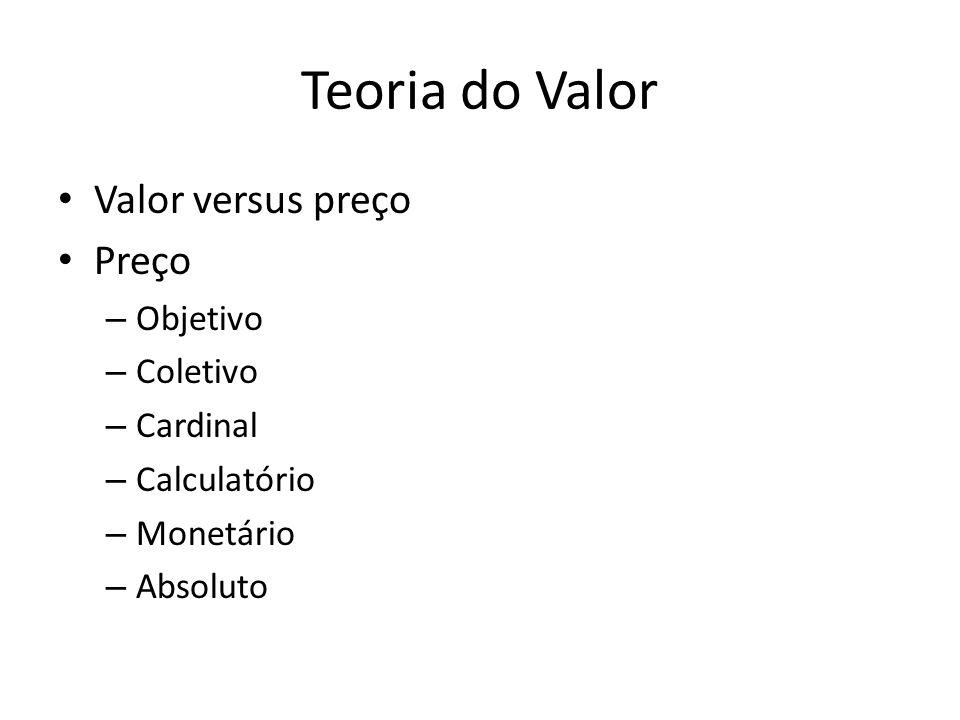 Teoria do Valor Valor versus preço Preço – Objetivo – Coletivo – Cardinal – Calculatório – Monetário – Absoluto