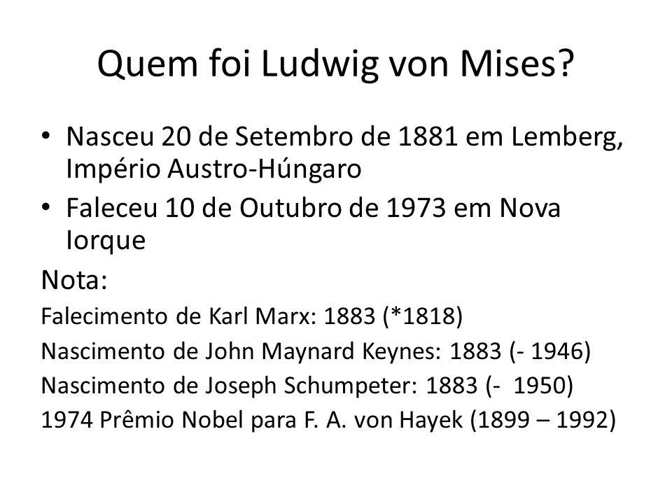 Quem foi Ludwig von Mises? Nasceu 20 de Setembro de 1881 em Lemberg, Império Austro-Húngaro Faleceu 10 de Outubro de 1973 em Nova Iorque Nota: Falecim
