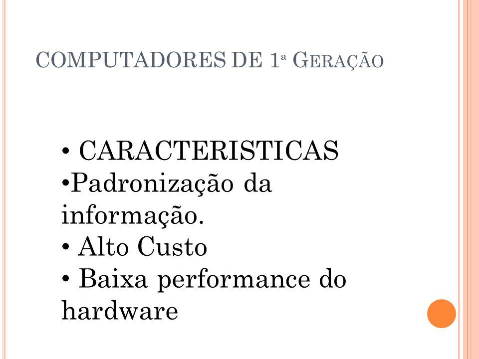 CARACTERISTICAS Padronização da informação. Alto Custo Baixa performance do hardware