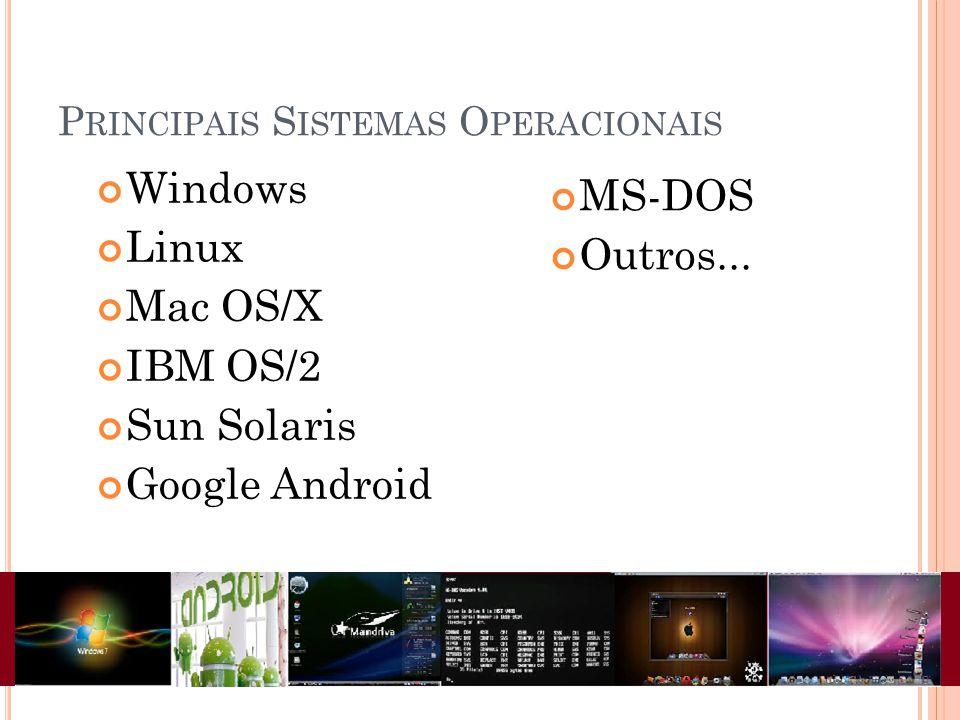 P RINCIPAIS S ISTEMAS O PERACIONAIS Windows Linux Mac OS/X IBM OS/2 Sun Solaris Google Android MS-DOS Outros...