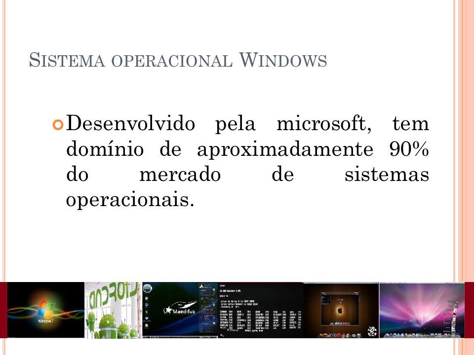 Desenvolvido pela microsoft, tem domínio de aproximadamente 90% do mercado de sistemas operacionais.