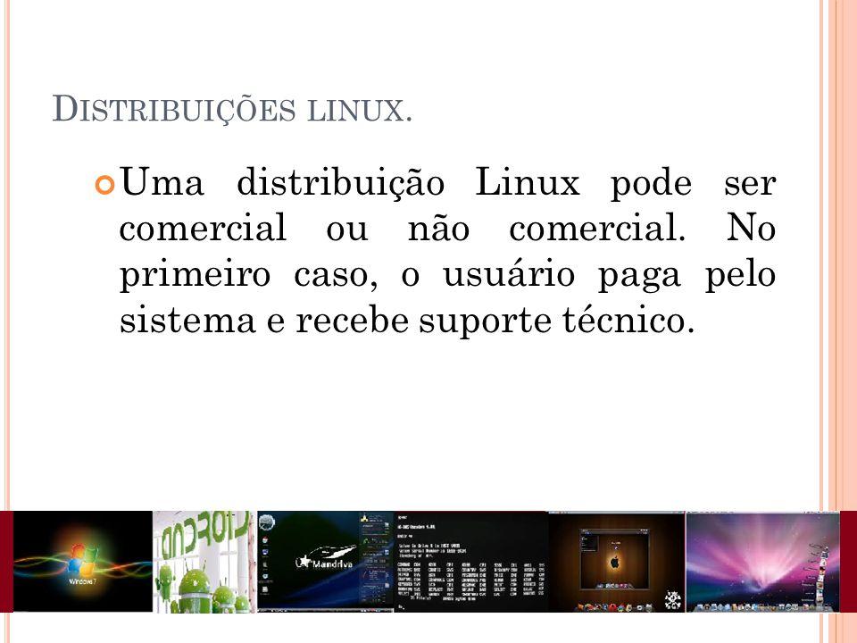 D ISTRIBUIÇÕES LINUX. Uma distribuição Linux pode ser comercial ou não comercial. No primeiro caso, o usuário paga pelo sistema e recebe suporte técni