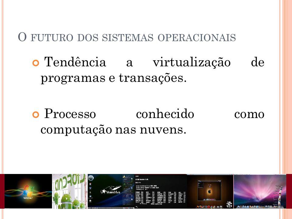 O FUTURO DOS SISTEMAS OPERACIONAIS Tendência a virtualização de programas e transações. Processo conhecido como computação nas nuvens.