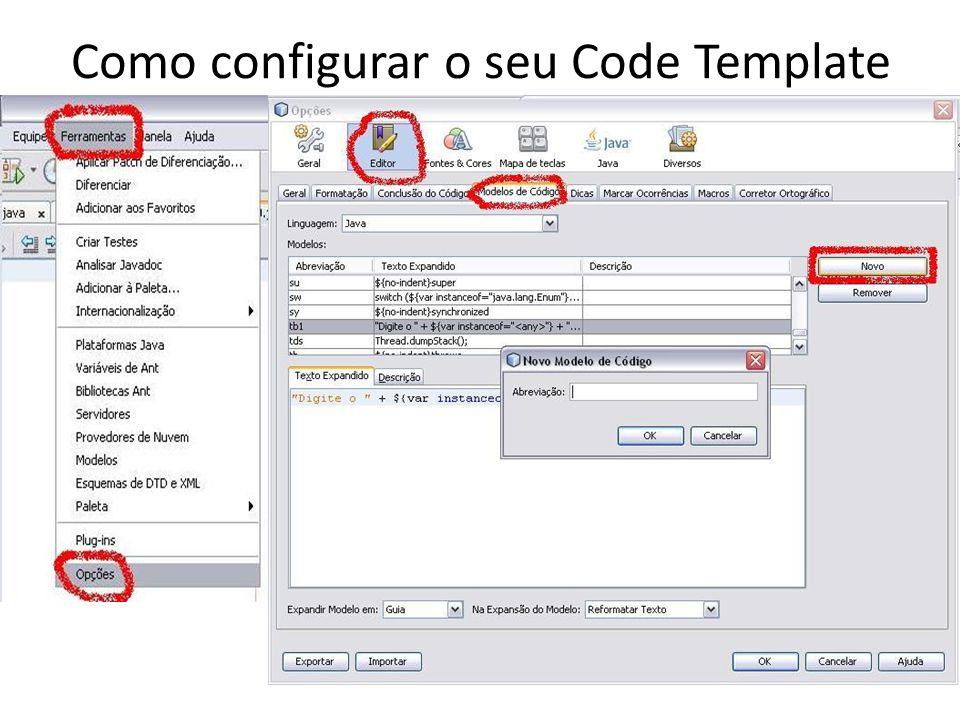 Templates que eu utilizo para matriz forIJ (PARA i depois j) for(i = 0; i < ${cursor}; i++) { for(j = 0; j < ; j++){ } forJI (PARA j depois i) for(j = 0; j < ${cursor}; j++) { for(i = 0; i < ; i++){ } Obs.: ${cursor} comando para indiciar onde o cursor será posicionado.
