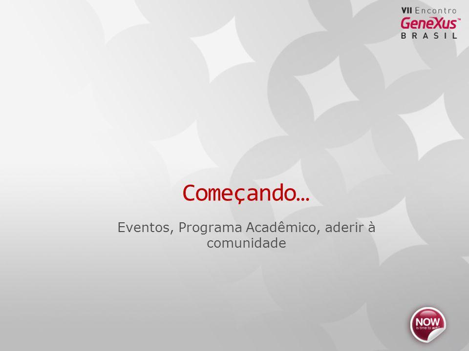 Eventos, Programa Acadêmico, aderir à comunidade Começando…