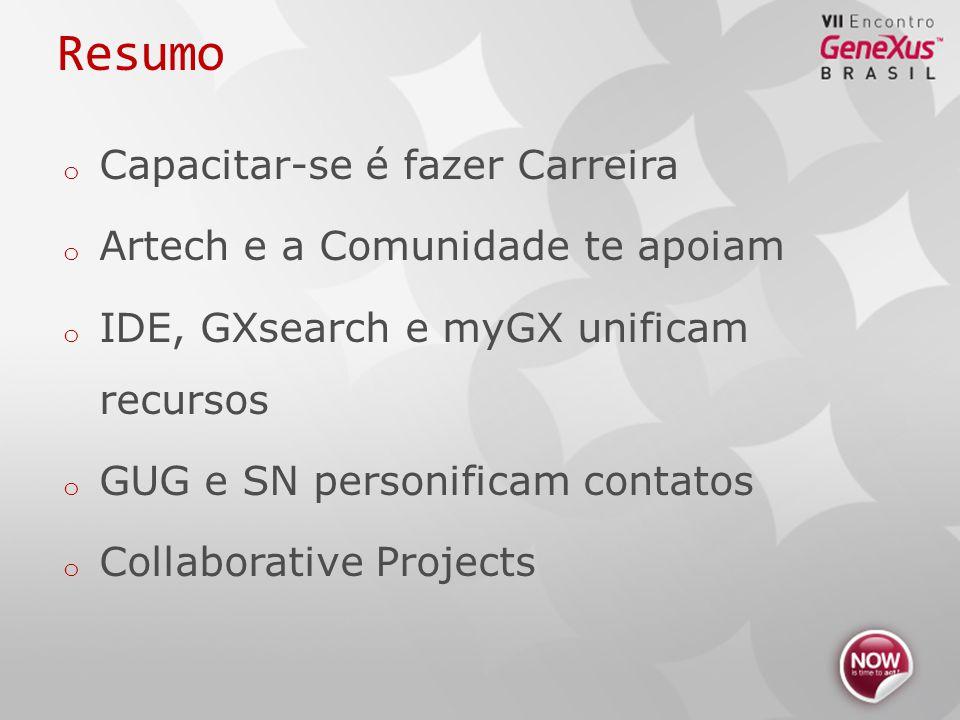 Resumo o Capacitar-se é fazer Carreira o Artech e a Comunidade te apoiam o IDE, GXsearch e myGX unificam recursos o GUG e SN personificam contatos o Collaborative Projects