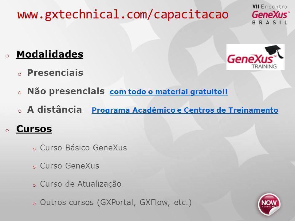www.gxtechnical.com/capacitacao o Modalidades o Presenciais o Não presenciais com todo o material gratuito!.