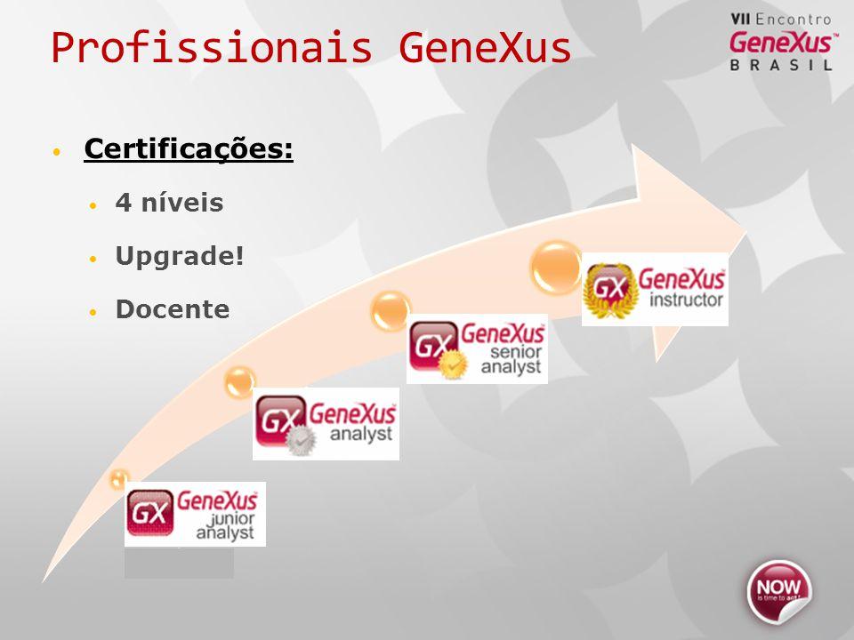 GeneXus Junior Analyst Analista Analista Senior Instructor Profissionais GeneXus Certificações: 4 níveis Upgrade.