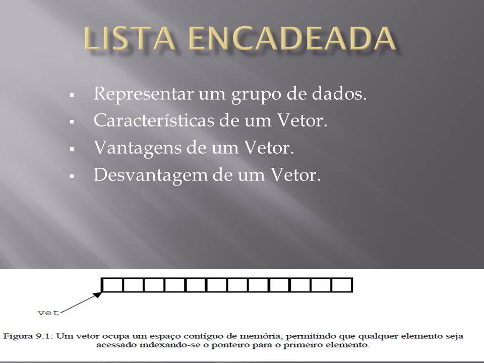  Representar um grupo de dados.  Características de um Vetor.  Vantagens de um Vetor.  Desvantagem de um Vetor.