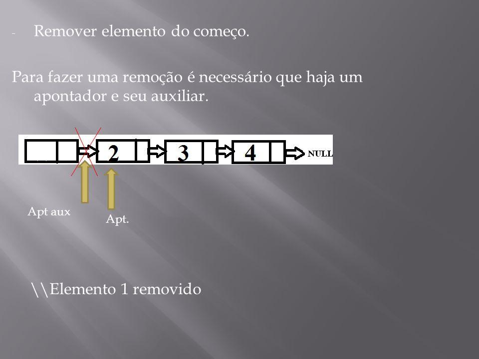- Remover elemento do começo. Para fazer uma remoção é necessário que haja um apontador e seu auxiliar. \\Elemento 1 removido Apt. Apt aux