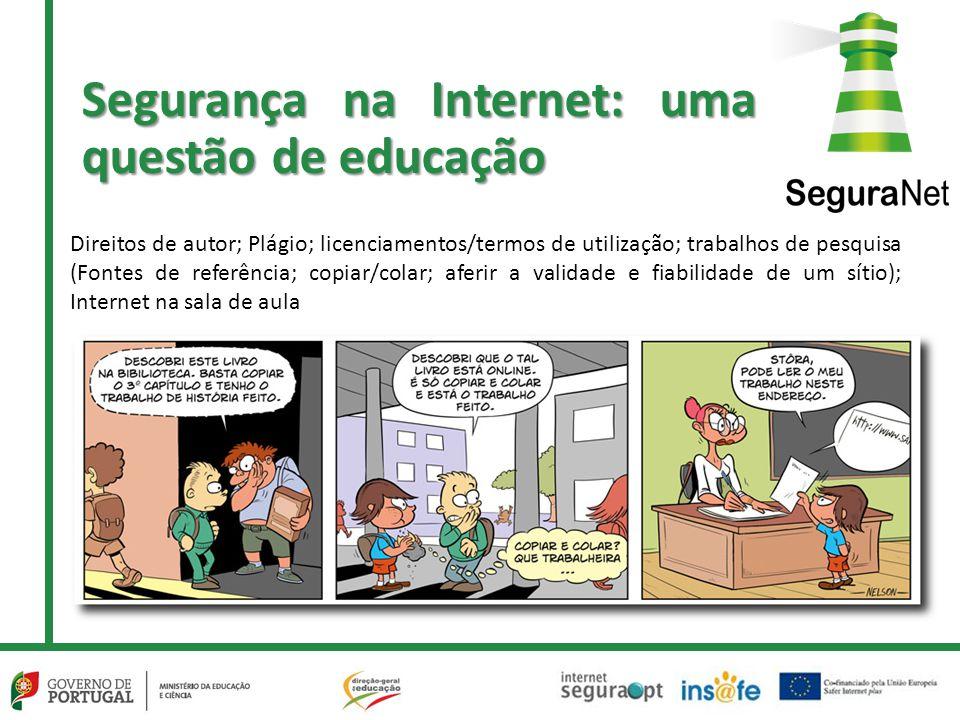 Direitos de autor; Plágio; licenciamentos/termos de utilização; trabalhos de pesquisa (Fontes de referência; copiar/colar; aferir a validade e fiabilidade de um sítio); Internet na sala de aula Segurança na Internet: uma questão de educação