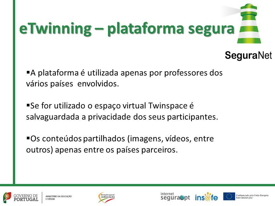 eTwinning – plataforma segura  A plataforma é utilizada apenas por professores dos vários países envolvidos.  Se for utilizado o espaço virtual Twin
