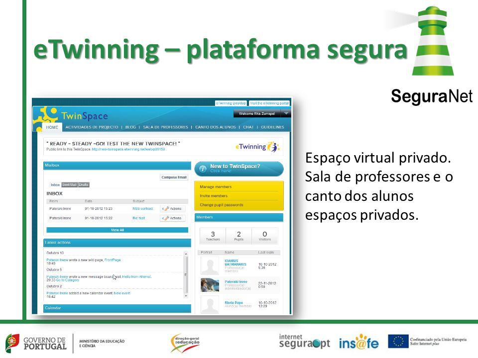 eTwinning – plataforma segura Espaço virtual privado. Sala de professores e o canto dos alunos espaços privados.