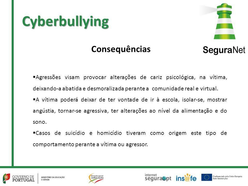 Cyberbullying  Agressões visam provocar alterações de cariz psicológica, na vítima, deixando-a abatida e desmoralizada perante a comunidade real e virtual.
