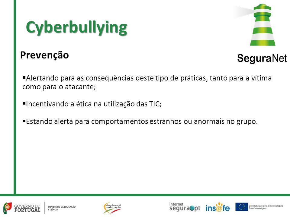 Cyberbullying  Alertando para as consequências deste tipo de práticas, tanto para a vítima como para o atacante;  Incentivando a ética na utilização das TIC;  Estando alerta para comportamentos estranhos ou anormais no grupo.