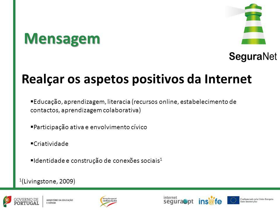 Realçar os aspetos positivos da Internet  Educação, aprendizagem, literacia (recursos online, estabelecimento de contactos, aprendizagem colaborativa