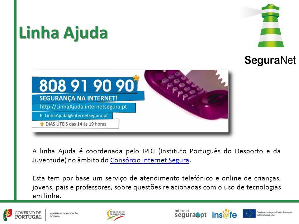 Linha Ajuda A linha Ajuda é coordenada pelo IPDJ (Instituto Português do Desporto e da Juventude) no âmbito do Consórcio Internet Segura.Consórcio Int