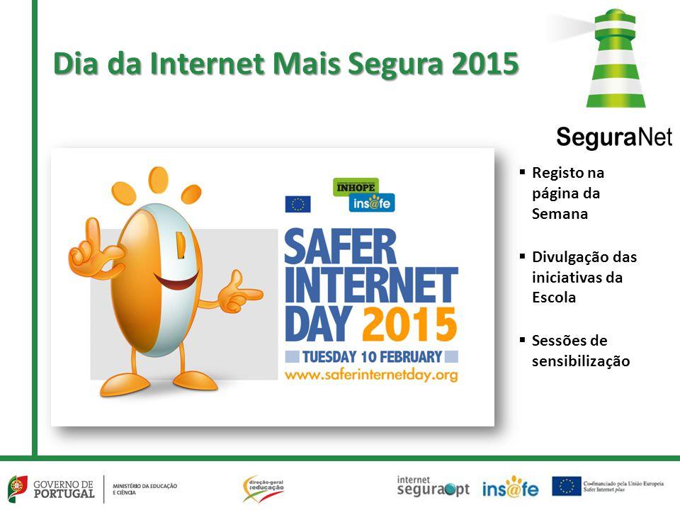 Dia da Internet Mais Segura 2015  Registo na página da Semana  Divulgação das iniciativas da Escola  Sessões de sensibilização