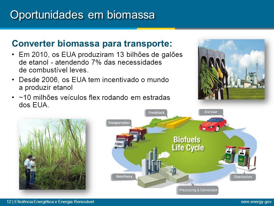 12 | Eficiência Energética e Energia Renováveleere.energy.gov Oportunidades em biomassa Converter biomassa para transporte: Em 2010, os EUA produziram 13 bilhões de galões de etanol - atendendo 7% das necessidades de combustível leves.