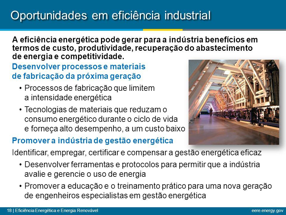 18 | Eficiência Energética e Energia Renováveleere.energy.gov Oportunidades em eficiência industrial A eficiência energética pode gerar para a indústria benefícios em termos de custo, produtividade, recuperação do abastecimento de energia e competitividade.