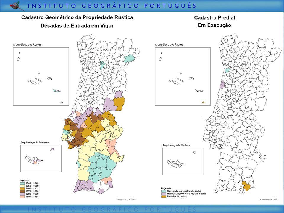 Cadastre today  Cadastro Geométrico da Propriedade Rústica –50% of area –2 million parcels  Cadastro Predial –1,5 % of area –Never into force  Work to be done (estimation) –Rural: 10 millions –Urban: 6 millions