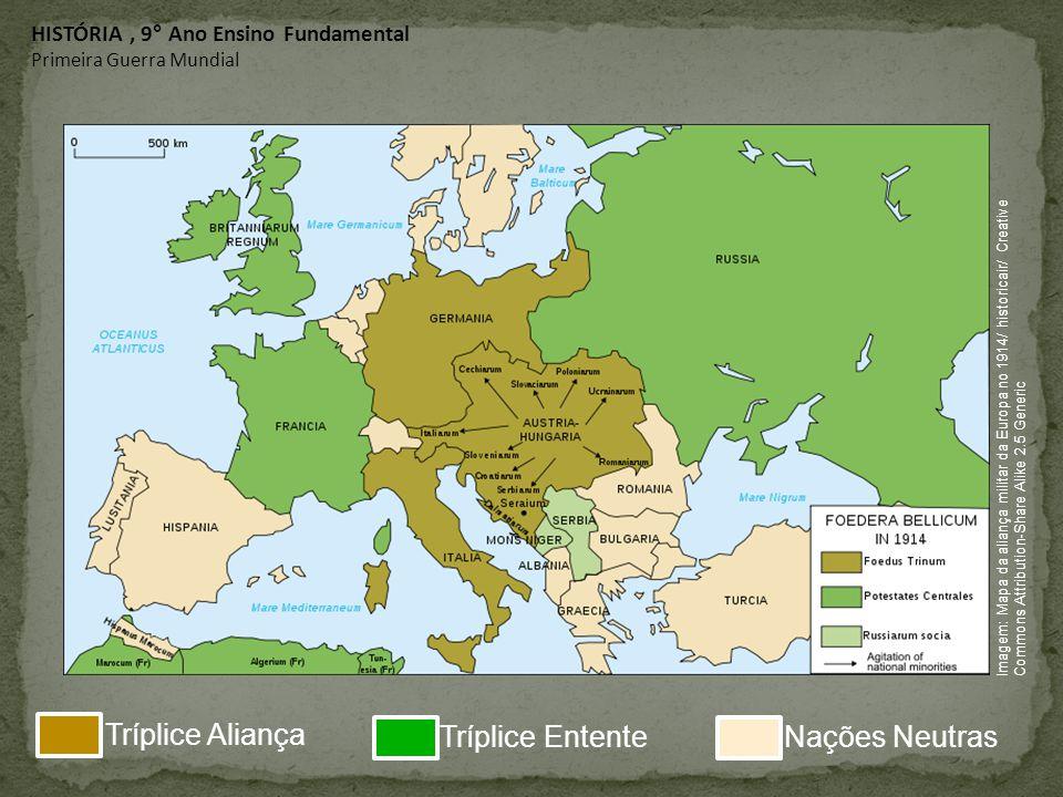HISTÓRIA, 9° Ano Ensino Fundamental Primeira Guerra Mundial Imagem: Mapa da aliança militar da Europa no 1914/ historicair/ Creative Commons Attributi