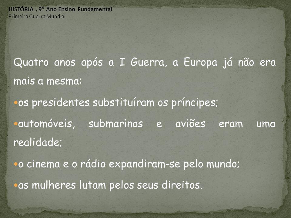 Quatro anos após a I Guerra, a Europa já não era mais a mesma: os presidentes substituíram os príncipes; automóveis, submarinos e aviões eram uma real