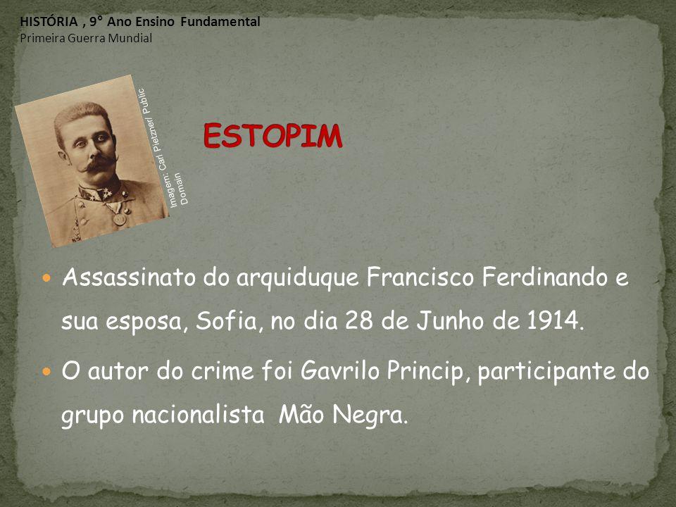 Assassinato do arquiduque Francisco Ferdinando e sua esposa, Sofia, no dia 28 de Junho de 1914. O autor do crime foi Gavrilo Princip, participante do