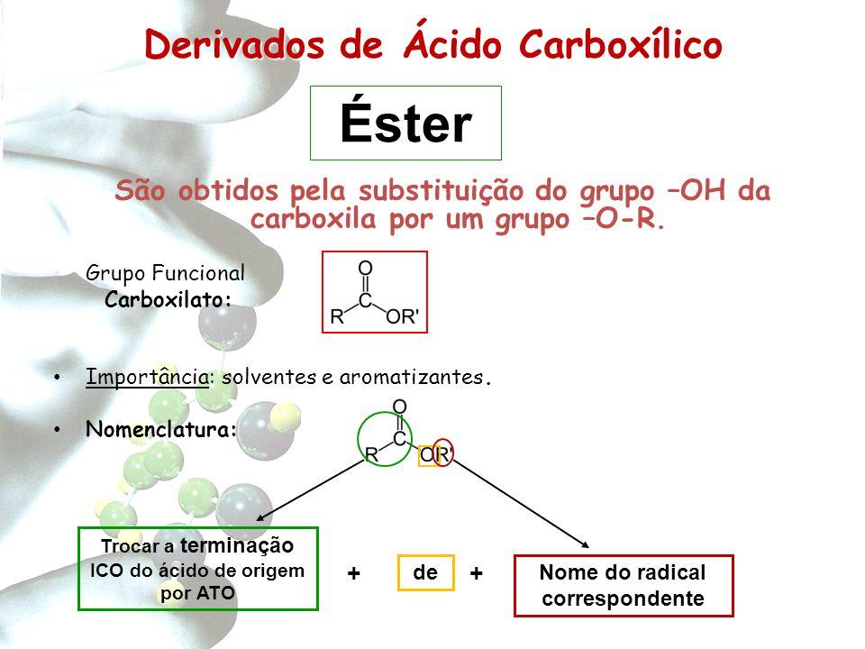 Derivados de Carboxílico Derivados de Ácido Carboxílico São obtidos pela substituição do grupo –OH da carboxila por um grupo –O-R. Grupo Funcional Car